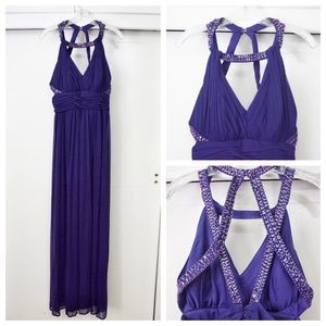 Caché Purple Beaded Gown